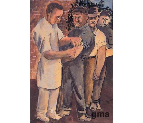 노동자에게 예방접종하는 의사